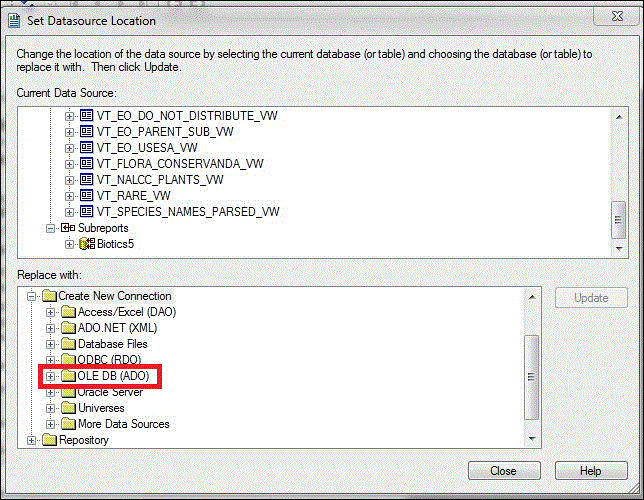 Updating existing Crystal Reports to Connect to the Biotics 5 Database
